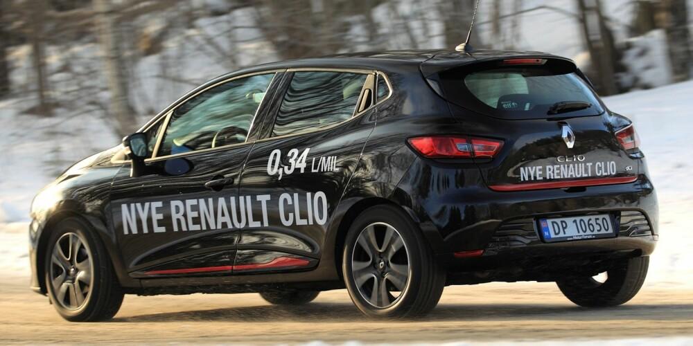 GJERRIGKNARK: I vår 20 mils testrunde leverer Renault Clio 1,5 dCi et av de beste resultatene noensinne med 0,4 l/mil. FOTO: Egil Nordlien, HM Foto