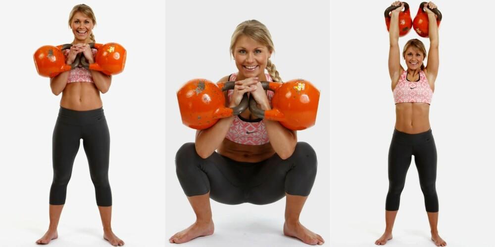 DOBBEL FRONTKNEBØY TIL SKULDERPRESS: Trener beina, særlig forside lår, men også rygg, mage, skuldre og triceps.