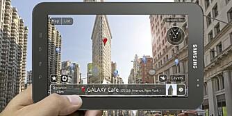 GALAXY PAD: Innebygget kamera og gps kominert med krystallklar skjerm åpner opp for helt nye muligheter. Som denne som gir deg <a href=http://www.klikk.no/bolig/bonytt/article539603.ece>augmented reality</a>.