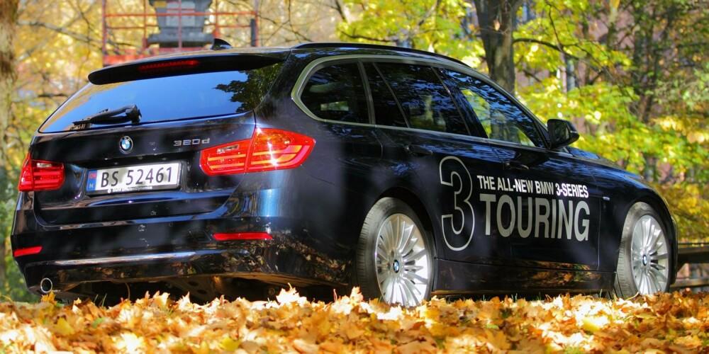 BMW 3-SERIE TOURING: Stasjonsvogn for dem som kjører mer enn de pakker bagasje. Den nye bensintoliteren i 320i er vår favorittmotor, mens 320d har grov lyd. FOTO: Egil Nordlien