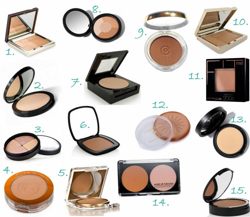 PUDDER-PRODUKTER: 1. Bronzing Duo fra Clarins (kr 385), 2. Bright Luminizing Highlighter fra Makeup Mekka (kr 49 - salg), 3. gloShimmer Brick Highlight Powder fra glóMinerals (kr 360), 4. Glam Bronze Mono fra L'Oréal Paris (kr 145), 5. Bronzy Babe Powder Compact fra Fake Bake (kr 159), 6. Ready Blush i fargen The Skinny Dip fra Bare Escentuals (kr 259), 7. Fit Me Pudder fra Maybelline (kr 129), 8. Mineral Radiance Sundance fra Youngblood (kr 485), 9. Silke Effect Bronzing Powder fra Collistar (kr 260), 10. Ever Matte Powder Compact fra Clarins (kr 390), 11, Fit Me Bronzer fra Maybelline (kr 119), 12. Dream Sun Glow fra Maybelline (kr 109), 13. Mineral Radiance Crème Powder Foundation fra Youngblood (kr 655), 14. Professional Sculpting Kit fra Make Up For Ever (kr ), 15. Nourishing Bronzer fra Nvey (kr 272,50).