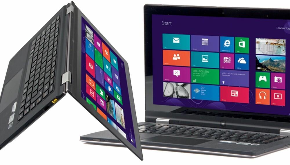 SNEDIG: På  Lenovo IdeaPad Yoga 13 bretter du skjermen helt rundt som på en notatblokk og vips så kan du holde og bruke PC-en som et nettbrett.