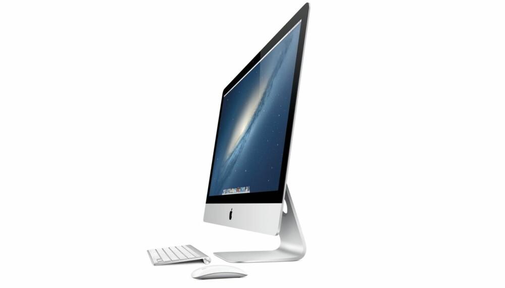 Lekker: I denne vinkelen ser iMac veldig, veldig tynn ut. Sannheten er at den buler ut på baksiden, men den er fortsatt den lekreste alt-i-ett-maskinen på markedet.