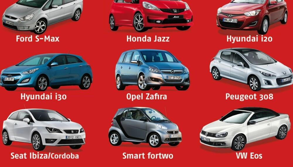 FLOPPER: Dette er bilmodellene som flopper i ADACs veihjelpsstatistikk. ILLUSTRASJON: ADAC