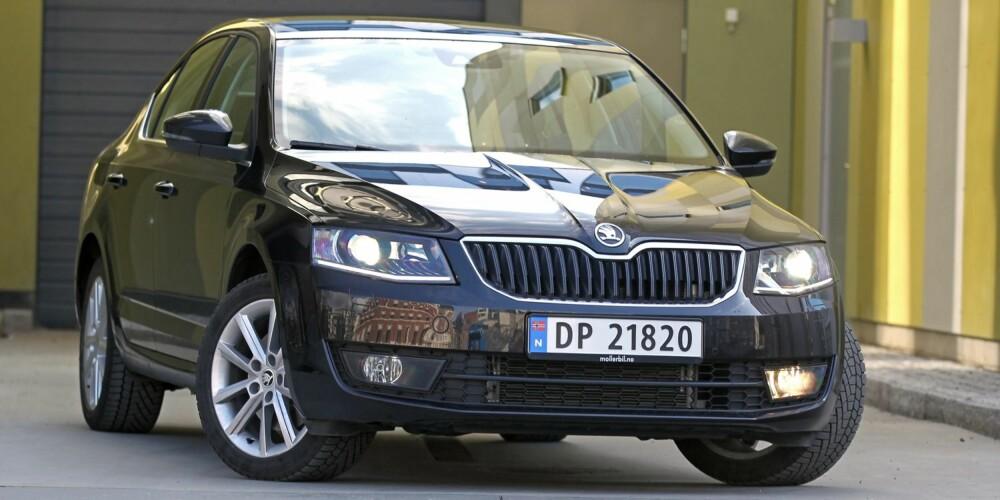 MODERAT: Lang og slank, mens moteretningen sier lav og bred. Utseendemessig er ikke Skoda Octavia like tøff i trynet som sine konsernsøsken fra VW og Audi.