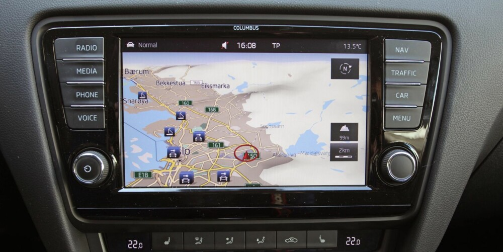 OPPDAGEREN: Columbus navigasjonssystem med 8-tommers berøringsskjerm og DAB+ radio koster 14 900 kroner, og kan bare leveres til toppmodellen Elegance.