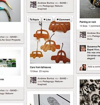 REPIN: Ved å holde musen over et bilde har man muligheten til å kommentere, like eller å «repinne» bildet. Det vil si at man legger bilde på en av sine egne boards.
