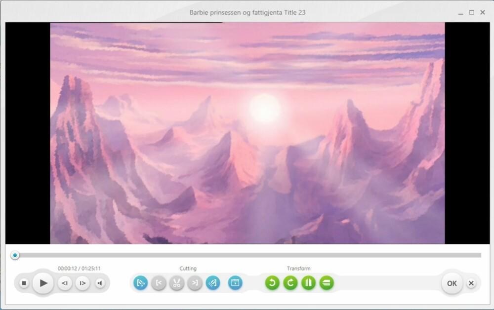 4. Du får da opp et skjermbilde hvor du får en forhåndsvisning av filmen. Her kan du blant annet kutte ut begynnelsen og slutten, og snu og speile bildet. Du kan også sjekke at lyd og undertekster er blitt som du tenkte.