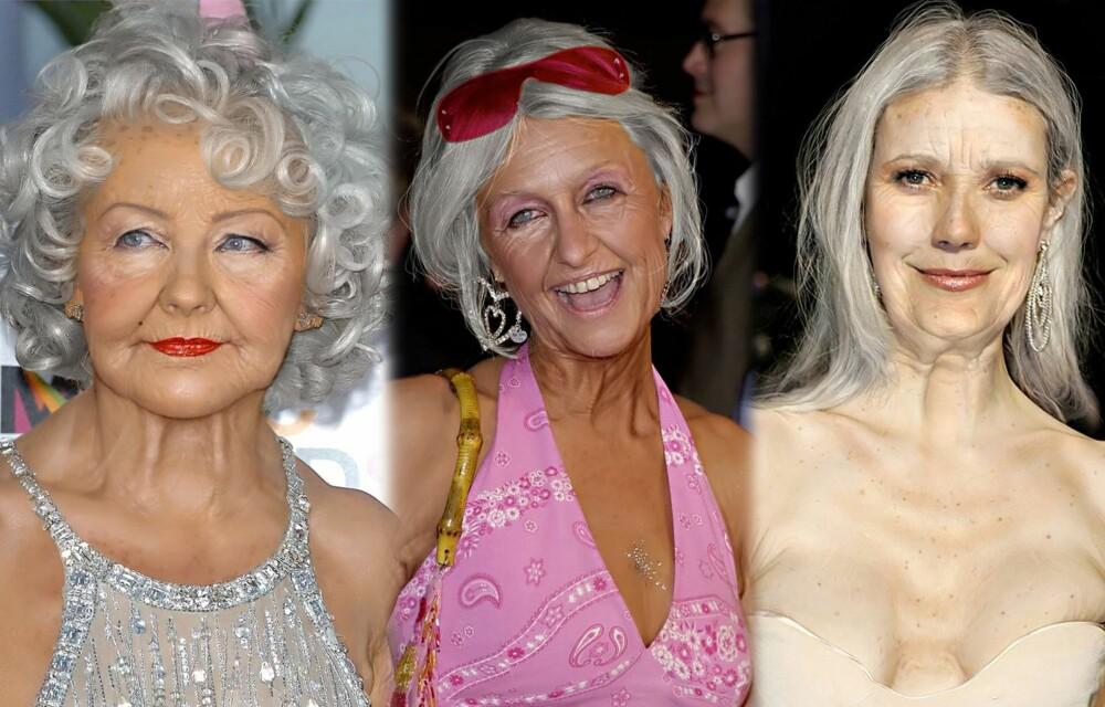 KJENDISER: Vi lo godt da vi fant disse bildene på bildebyrået. I en Photoshop-konkurranse fikk deltakerne i oppgave å manipulere kjendiser til å se gamle ut. Ser du hvem de er? Christina Aguilera til venstre, Paris Hilton i midten og Gwyneth Paltrow til høyre.