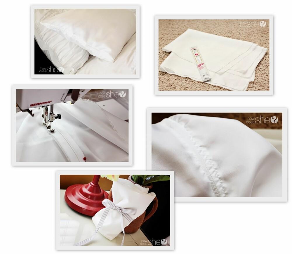 GJØR DET SELV: Jentene bak howdoesshe.com syns også at silke- eller satengputevar er et perfekt DIY-prosjekt. Passer ypperlig som en litt annerledes gave.