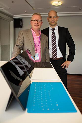 FORVENTNINGER: Teknologidirektør Børge Hansen (th) og ansvarlig for Windows i Norge Christian Almskog, har store forventninger til Surface Pro i Norge.
