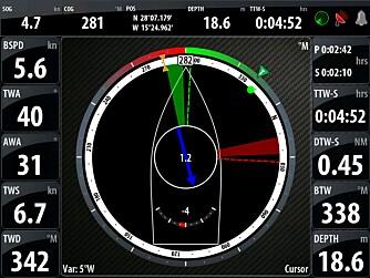 «Sail-Steer» er navnet på det nye skjermbildet som gir deg den viktigste seilinformasjonen der og da (se faktaramme), som en slags moderne utgave av kompassrosa. FOTO: Terje Haugen