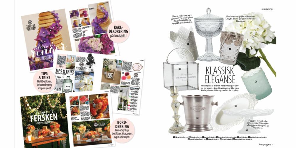 SMAKEBIT: Her ser du noe av innholdet i første utgave av magasinet Ditt eget Bryllup.