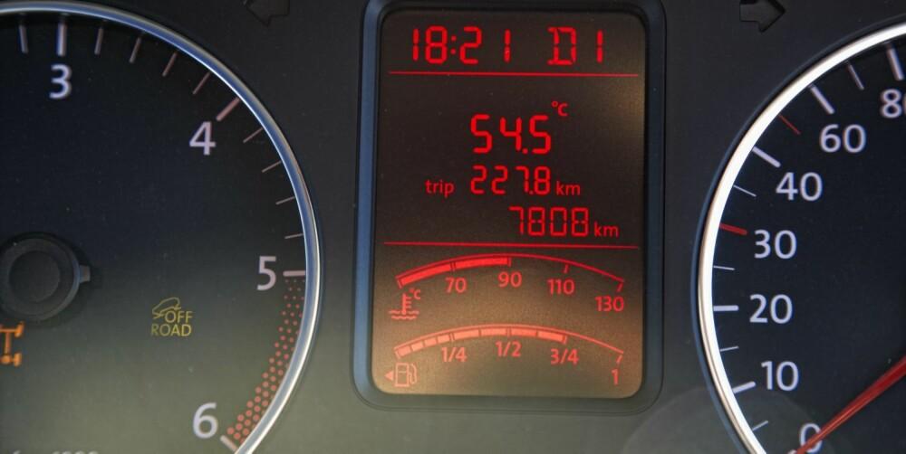 GANSKE HETT: 54,5 grader.