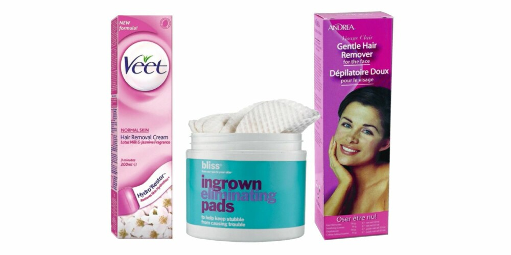 HÅRFJERNINGSKREM: Fra venstre: Veet Hair removal cream, kr 94. Bliss ingrown eliminating pads, kr 379. Andrea hårfjerningskrem, kr 89.