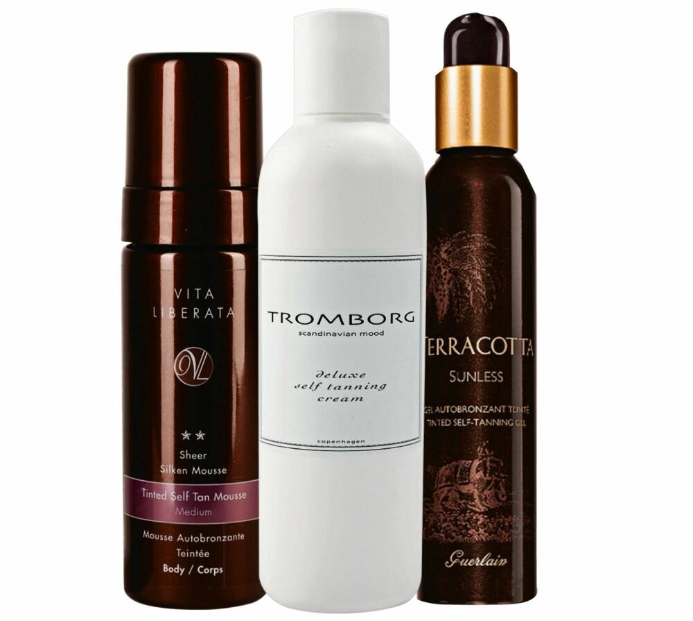 GIR GLØD: Fra venstre: Tinted Self Tan Mousse fra Vita Liberata, kr 379. Self Tanning Cream fra Tromborg, kr 390. Sunless Tinted Self-Tanning Gel fra Guerlain, kr 465.