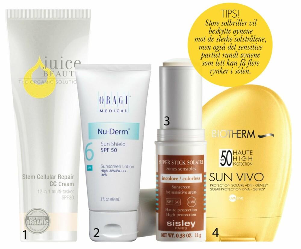 PRODUKTANBEFALINGER: 1. Stem Cellular Repair  CC-cream, med faktor 30, fra Juice Beauty, kr 450. Økologisk, solbeskyttende og fargekorrigerende krem som skal reparere skader, redusere linjer, samt gi ekstra fukt og pleie.2. Nu-Derm Sun Shield, faktor 50, fra Obagi, kr 490. Solkrem med  høy faktor og  sinkoksid som  ikke skal legge seg  på huden som en hvit maske. 3. Super Stick  Solaire, faktor 30, fra Sisley,  kr 670.  Vannresistent solstift for  utsatte områder, som skal forebygge rødhet, tørrhet, rynker og mørke  pigmentflekker. 4. Sun Vivo, faktor 50,  fra Biotherm, kr 275. Solkrem med høy  beskyttelse som skal forebygge aldringstegn. Brunfargen  skal komme gradvis, men  til gjengjeld vare lenger.