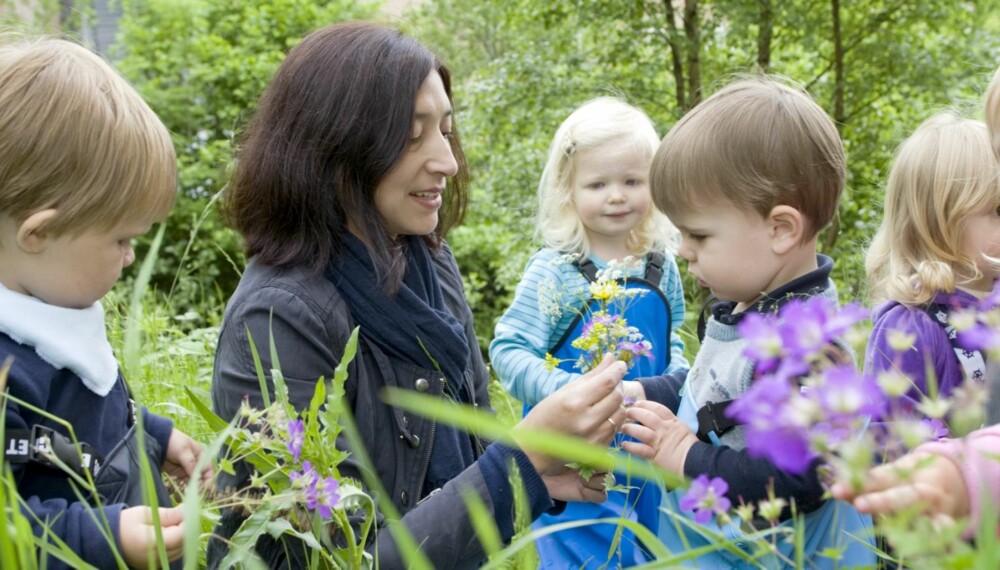 GIFTIGE PLANTER: De åtte barna i Heimvang familiebarnehage leker og plukker blomster i skogen hver dag. Når de kommer til et nytt sted, sjekker Sandra Pachard Orellana hva som finnes av planter der.