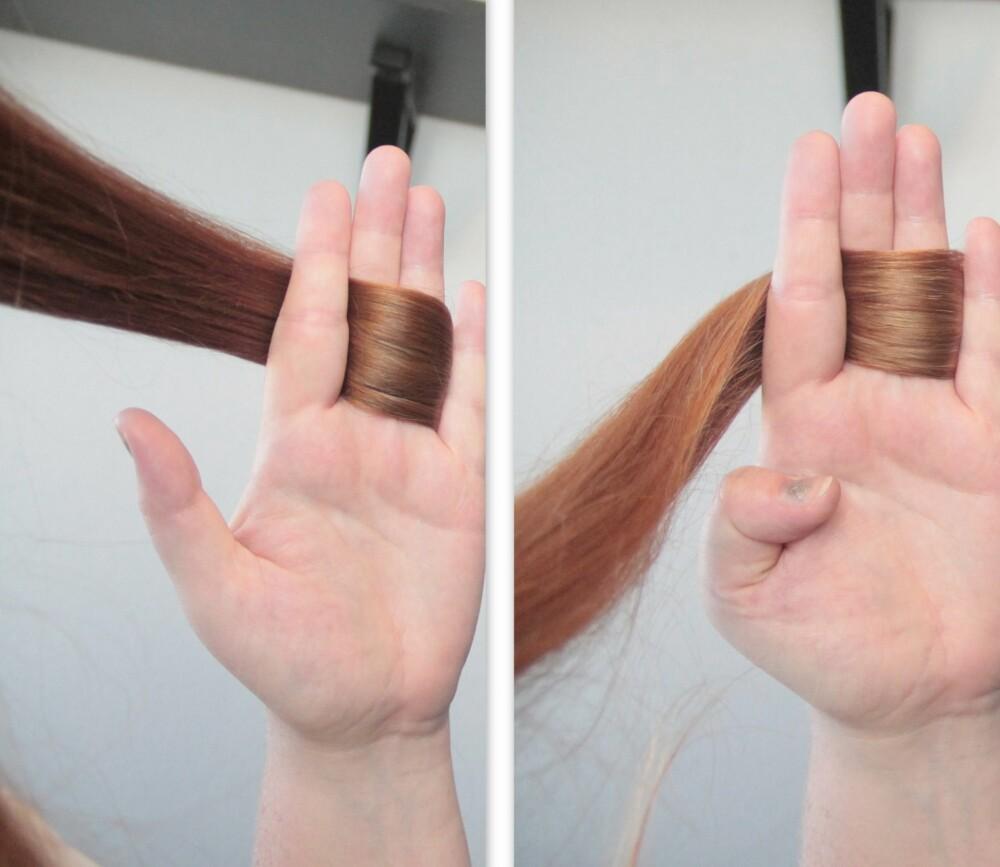 FORANDRING:  Her ser vi hvordan håret fikk en makeover både i farge og tekstur. Håret er litt lysere, men også litt mer slitt, rett og slett. Men det var ikke så ille som jeg hadde forventet, faktisk!