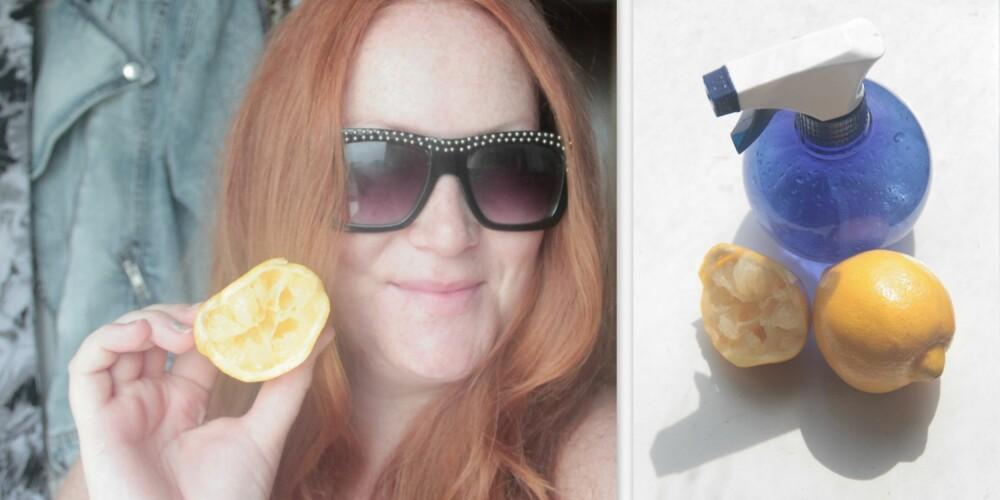 SITRONTRIKSET: Alt du trenger for å lysne håret helt naturlig er sitron, en sprayflaske og godt med solkrem.