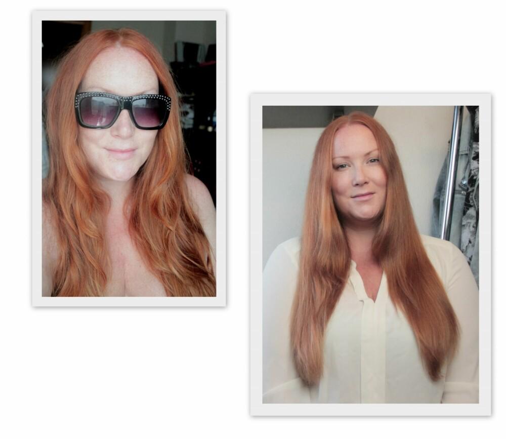 FRA STRAND TIL GLAM: Bildet til venstre er før jeg startet lysningsprosessen, og bildet til høyre er tatt rett før denne saken ble skrevet. Håret er litt lysere, men også litt mer slitt i tuppene. Men jeg digger den veldig naturlige ombre-effekten håret fikk - selv om det ikke er så lett å se på bilder.
