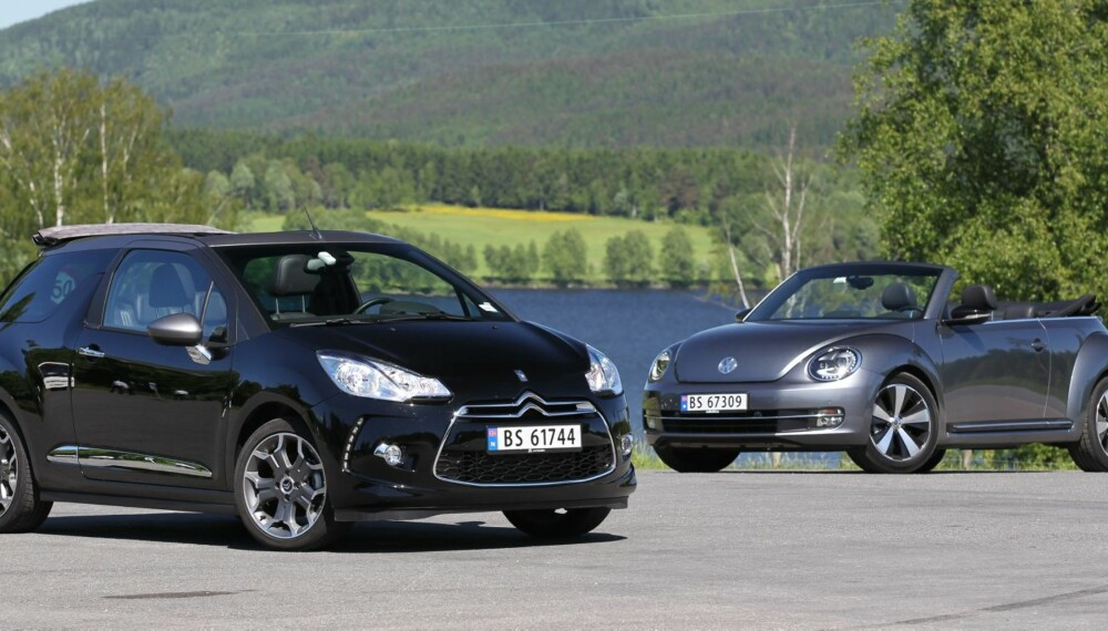 SOMMERVIBBER: Citroën DS3 Cabrio og VW Beetle Cabriolet gir begge gode sommervibber, og prisene er ikke avskrekkende. FOTO: Petter Handeland