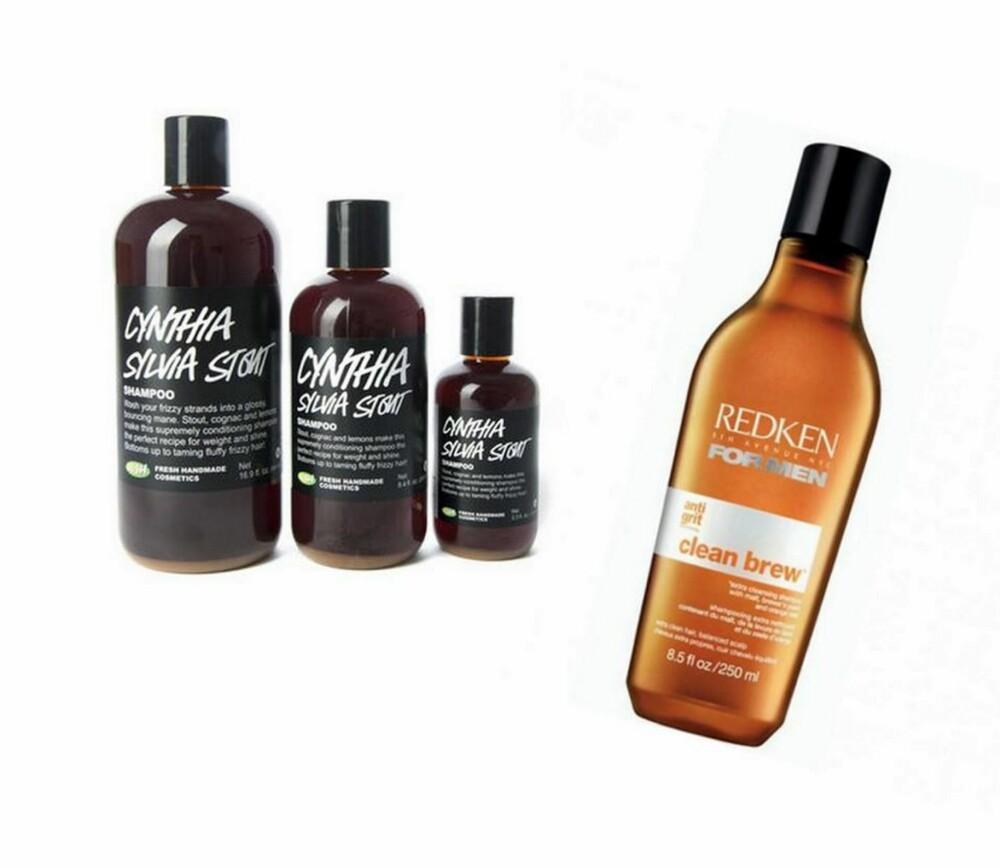 PRODUKTER SOM INNEHOLDER ØL: Både merkene Redken og Lush fører hårprodukter som er basert på øl fra malt og stout.