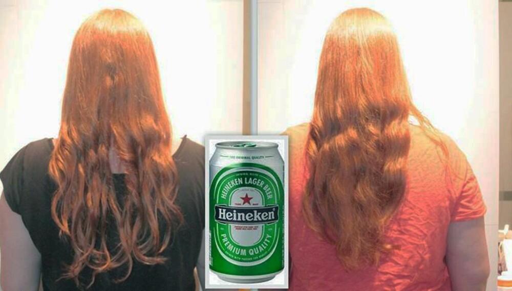 FØR OG ETTER: Øl-trikset har blitt brukt i århundrer av kvinner som ønsker vakkert hår. Vi testet om det hotte kjerringrådet faktisk funker.