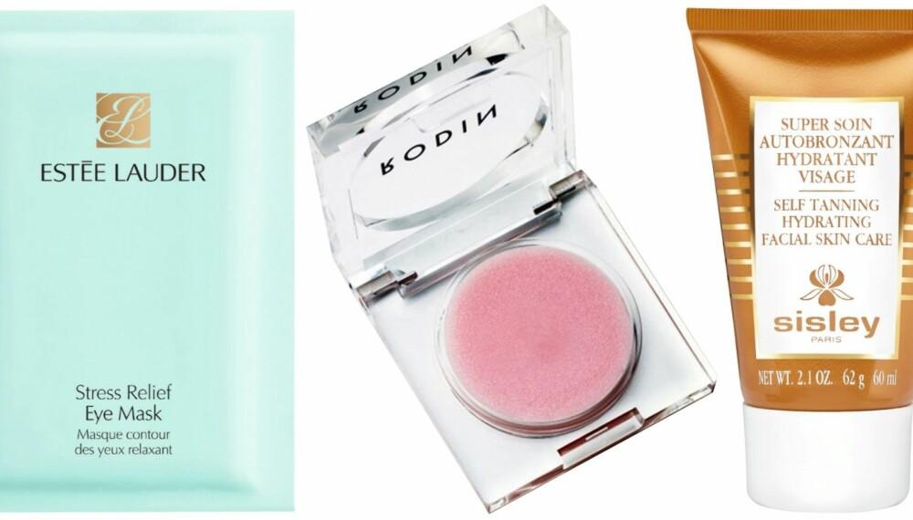 KLARE FAVORITTER: Disse produktene har vi kjøpt én gang, to ganger, tre ganger... Øyemasken fra Estée Lauder, leppebalsamen fra Rodin Olio Lusso som gjør leppene silkemyke og selvbruningskremen fra Sisley som gir den perfekte gylne fargen.