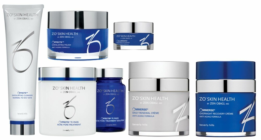 PRODUKTENE: Her er produktene jeg testet. ZO Skin Health Offects Exfoliating cleanser, Offects Exfoliating Polish, Offects TE-Pads Acne Pore Treatment, Ommerse Renewal Creme, Ommerse  Overnight Recovery Creme og Olluminate Intense Eye Repair.