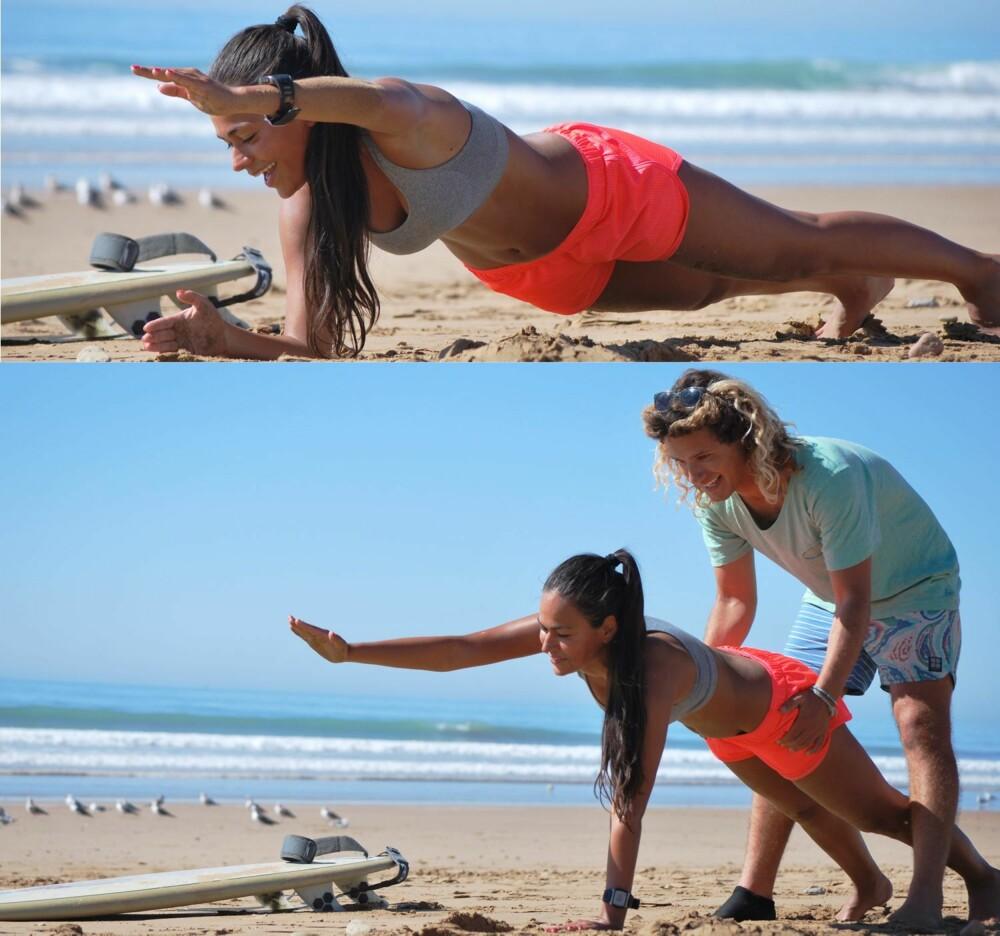 DYNAMISK PLANKE: Du trener kjerne og stabiliserende muskulatur i kroppen.
