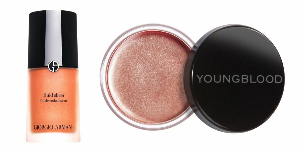 FRISK GLØD: Få en fresh look med en fin highlighter. Fra venstre: Armani Fluid Sheer, kr 380. Youngblood Luminous Creme Blush, kr 319.