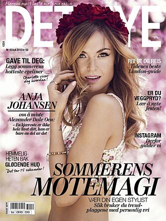 BLOMSTER PÅ COVERET: Charlotte Thorstvedt pryder juli-utgaven av Det Nye - med blomster i håret, selvfølgelig.