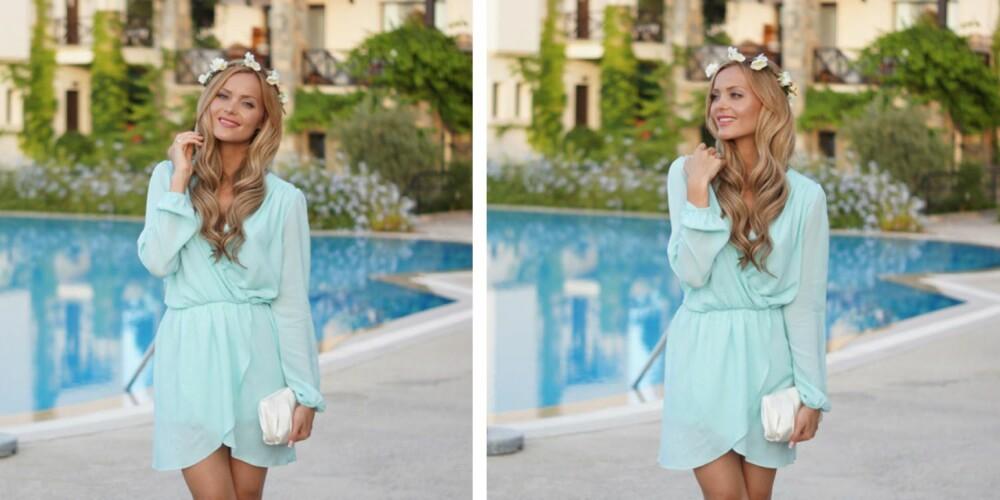 """SOMMERIDYLL: Caroline """"Fotballfrue"""" Eriksen kombinerer en nydelig blomsterkrans med en pastellfarget sommerkjole."""