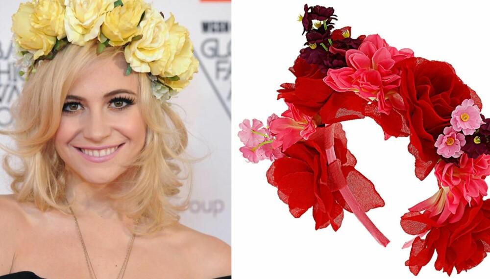 BLOMSTERPIKE: Gjør som it-jenta Pixie Lott, og frisk opp looken med en lekker blomsterkrans i håret - definitivt sommerens hotteste tilbehør. Rosa blomsterkrans til venstre fra TopShop, kr 100.