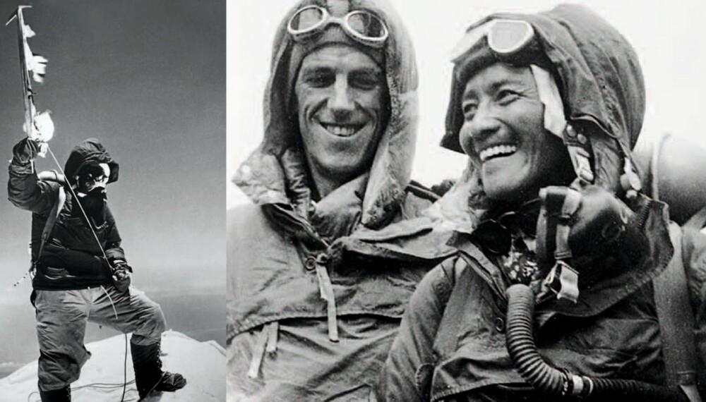 (T.v.) Tenzing Norgay på toppen av Mount Everest. Han veiver med en flaggpyntet isøks. Tilsvarende bilde av Hillary finnes ikke. Norgay hadde ikke fotoerfaring, og Hillary tok seg ikke bryet med å lære ham opp 8848 m o.h. Over: Hillary (til venstre) og Tenzing Norgay er blide og glade ¿ etter å ha vært først på Everest.