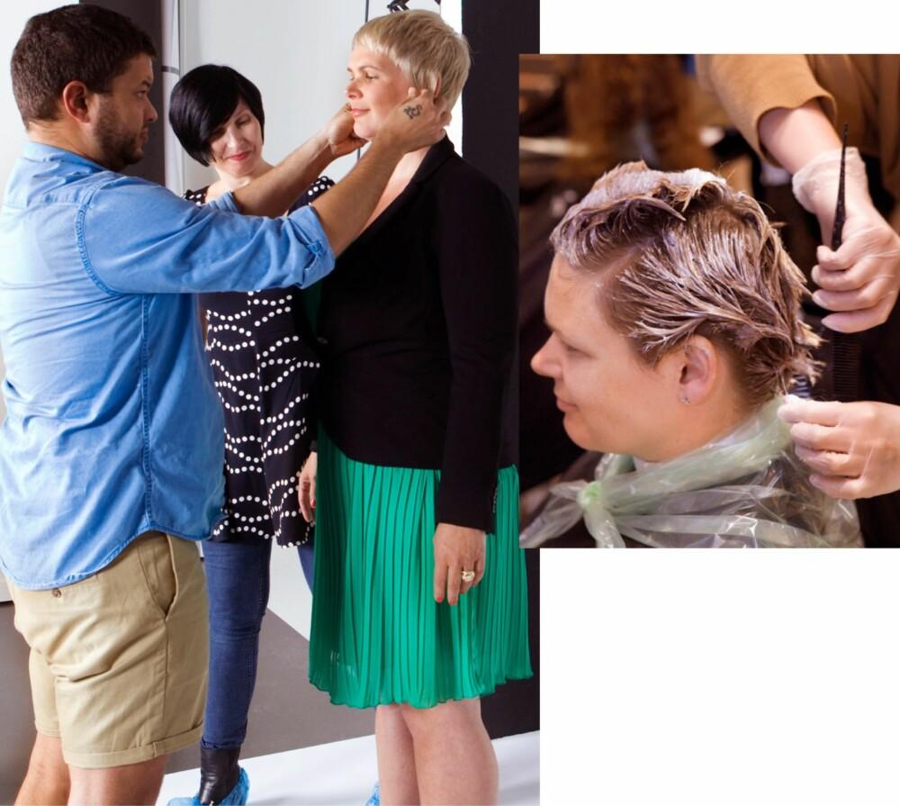 HÅR: Til venstre: Frisør Eirik legger siste finish på den nye frisyren, og stylist Vibeke sjekker at klærne sitter som de skal. Til høyre: Catrine forvandles fra brunette til blondine.