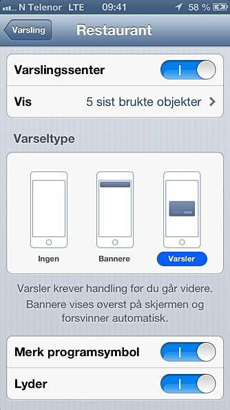 VARSLINGER: iOS har tre måter å varsle på; lyd, meldinger og med symboler.
