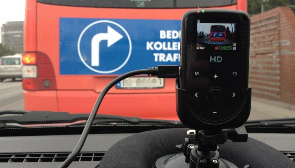 DASH: Dashboardkamera er offisielt definert av datatilsynet som er kamera som installeres foran i biler eller lastebiler og som filmer ut frontruta. AEE MagiCam HD 50S er siste nytt på den fronten. FOTO: Terje Haugen