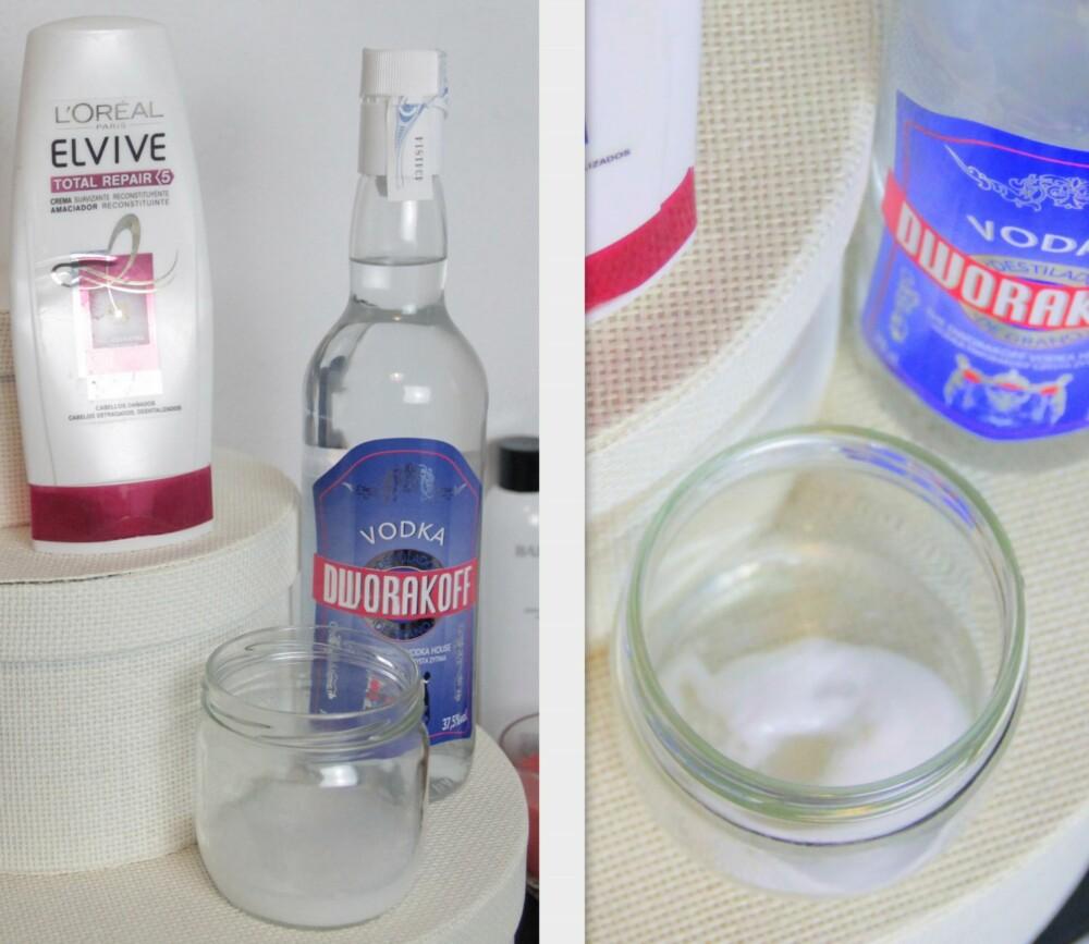HÅRPLEIE: I følge oppskrifter som florer på nettet, så er det bare å tilsette en shot med vodka i balsamen og vaske håret som normalt. Vodkaen blander seg lett sammen med balsamen, og blandingen blir ikke for flytende heller.