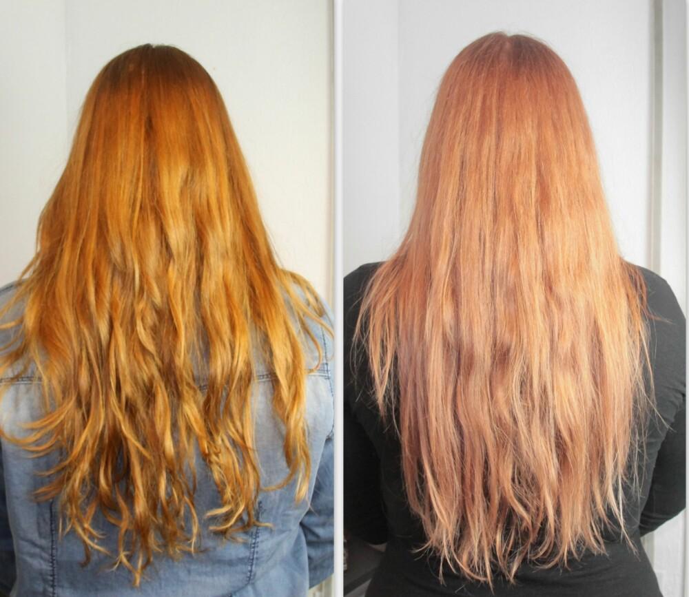 FØR/ETTER: Selv om fargeforskjellen kommer fra at førbildet (til venstre) ble tatt på dagen og etterbildet ble tatt på kvelden, så kan jeg ikke påstå at håret ble mer glansfullt. Men at det mistet litt volum, stemmer.