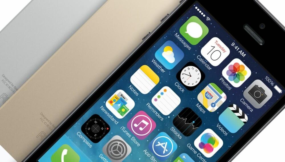 NY IPHONE: Her er nye iPhone 5S. Lynrask mobil med fingeravtrykksleser og et nytt kamera.