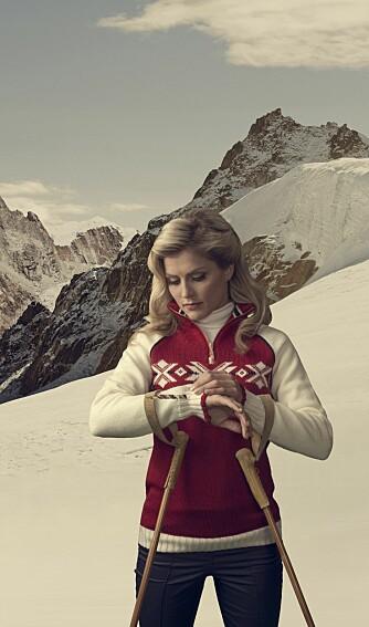 Retro: Therese Johaug er vakrere enn noensinne med sin 50-talls look når hun lanserer OL-genseren til Sochi 2014.