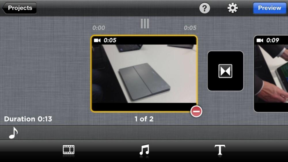 ENKELT: Perfect Video har et enkelt grensesnitt og det er ikke veldig vanskelig å redigere sin egen mobilfilm.