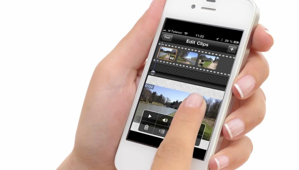 RASKT OG ENKELT: Det er raskt og enkelt å sette sammen filmsnutter på mobilen til en sammenhengende og severdig film.