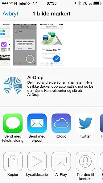 AIRDROP: Deling mellom enheter i nærheten av hverandre er en ny funksjon på iOS 7.