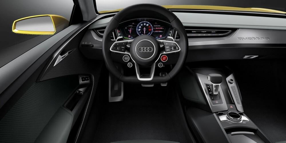 FREMTIDEN: Både instrumentpanelet og det nye multifunksjonsrattet gir ifølge Audi et glimt av fremtidens sportslige produksjonsmodeller. FOTO: Audi
