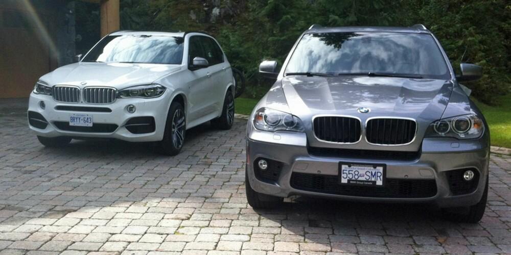 GAMMEL OG NY: Nye X5 har en høyere og mer kanten form enn forgjengeren. Modellen til venstre viser X5 M50d som har større luftinntak. FOTO: Martin Jansen