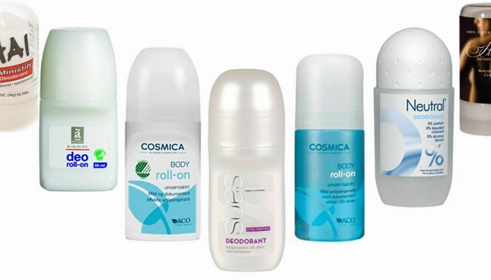 TRYGGE: Disse inneholder garantert ingen uhumskheter. Fra venstre: Thai Ministift Kristall Deodorant, Änglamark Deo, Cosmica Body Roll-on, Svanemerket, Dermica Sans (uten parfyme), Cosmica Body Roll-on, Neutral Deo og Helsedeodoranten.