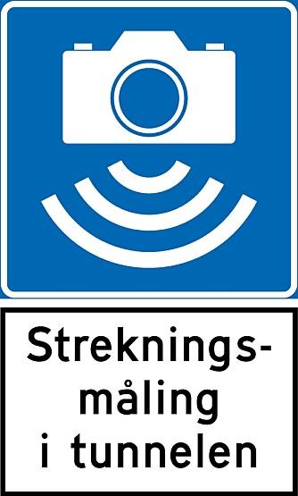 STREKNINGS-ATK: Skiltet forteller at tunnelen er oppsatt med streknings-ATK.